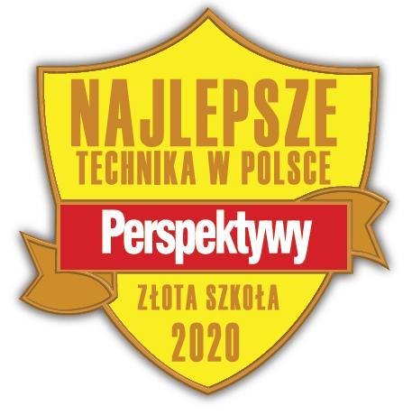 """Fundacja Edukacyjna """"Perspektywy"""" potwierdza, że Technikum nr 1 w Zespole Szkół im. Wł. Szybińskiego w Cieszynie jest wśród 500 najlepszych techników w Polsce sklasyfikowanych w Rankingu Liceów i Techników PERSPEKTYWY 2020 i przysługuje mu tytuł """"Złotej Szkoły 2020""""."""