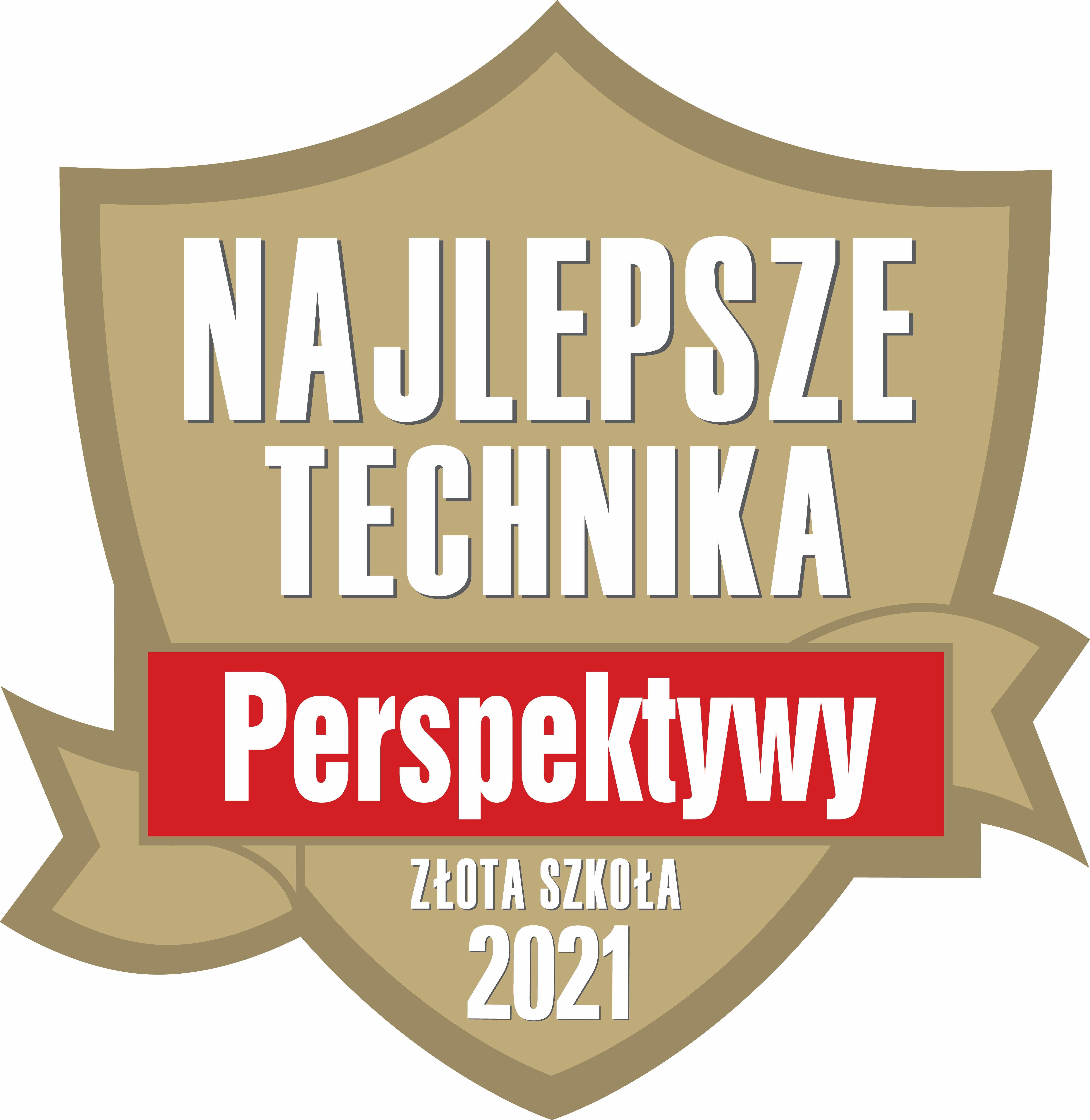 """Fundacja Edukacyjna """"Perspektywy"""" potwierdza, że Technikum nr 1 w Zespole Szkół im. Wł. Szybińskiego w Cieszynie jest wśród 500 najlepszych techników w Polsce sklasyfikowanych w Rankingu Liceów i Techników PERSPEKTYWY 2021 i przysługuje mu tytuł """"Złotej Szkoły 2021""""."""